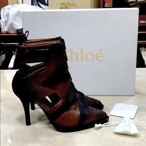 🔥CHLOE TRACY SHORT BOOTS WATER SNAKE 🐍 LEATHER